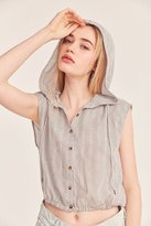 BDG Saturday Button-Front Hoodie Top