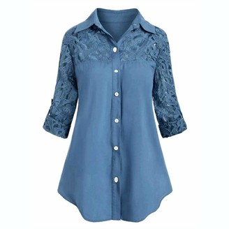 YBWZH Women Casual T-Shirts 2020 Women Turn- Down Collar Tunic Blouse Ladies Large Size Button Lace Turn Down Collar Long Sleeve Shirt Big Size Blouse Blue