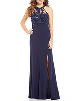 Sequin Hearts Sequined Illusion Yoke Long Dress