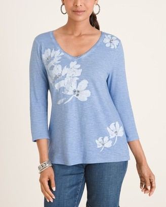 Chico's Chicos Blue Floral Tee