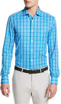 Kiton Plaid Sport Shirt, Capri Blue