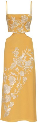 Johanna Ortiz Embroidered Silk Midi Dress W/Cut Out