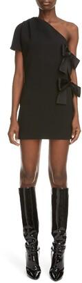 Saint Laurent Bow Detail One Shoulder Minidress