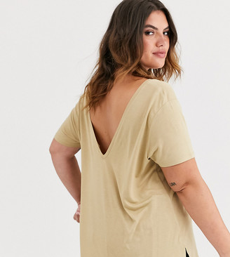 Asos DESIGN Curve oversized v front and v back t-shirt in stone-Beige
