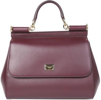 Dolce & Gabbana Burgundy Sicily Bag Medium