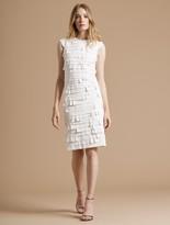 Halston Cap Sleeve Strip Detail Ponte Knit Dress
