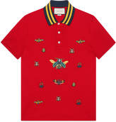 Gucci Cotton polo with insect embroideries