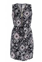 Quiz Navy Floral Print Tie Waist Tunic Dress