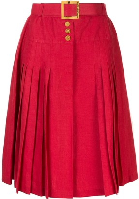 Chanel Pre Owned Belted button pleated skirt