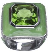 Square Cubic Zirconia Ring with Pavé Border - Green/ Jade