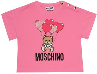 MOSCHINO BAMBINO Logo stretch-cotton T-shirt