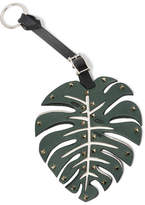Valentino Studded Leather Keychain - Forest green