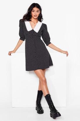 Nasty Gal Womens Collared Polka Dot Mini Smock Dress - Black
