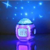 Towallmark Sky Star Night Light Projector Lamp Bedroom Clock Alarm Music