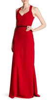 Carmen Marc Valvo V-Neck Embellished Maxi Gown