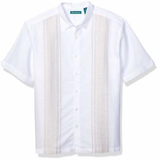 Cubavera Men's Engineered Yarn Dye Panel Shirt