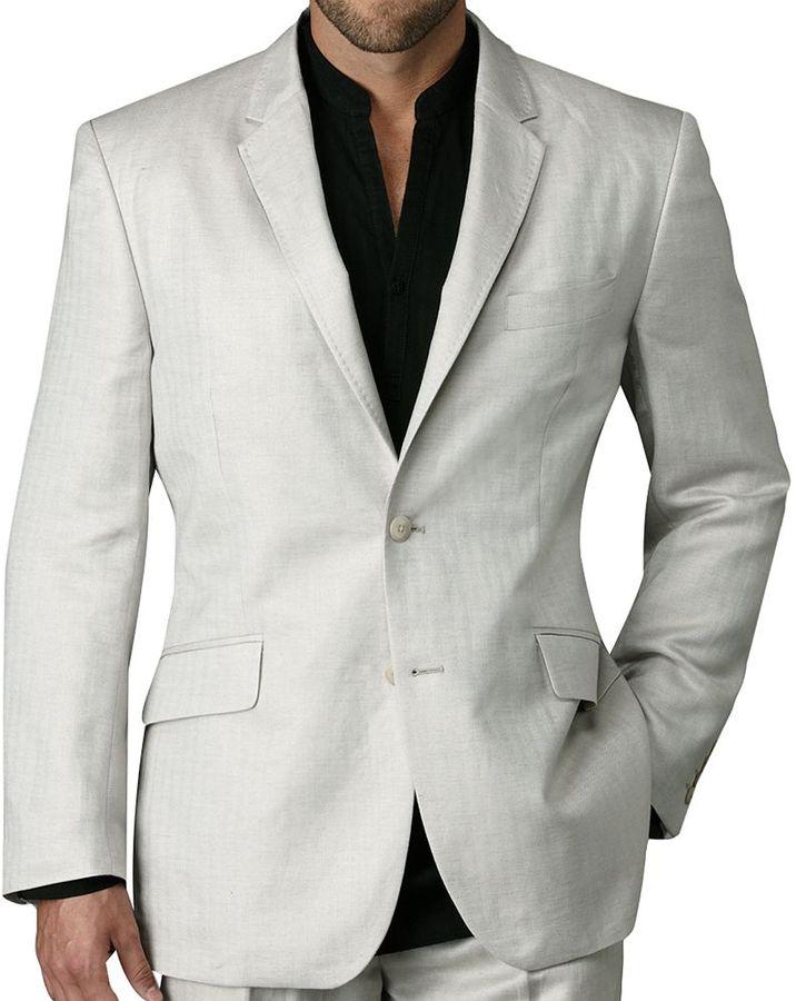 Centro herringbone linen suit jacket