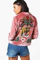 Boohoo Ellie Boutique Embroidered Trucker Jacket