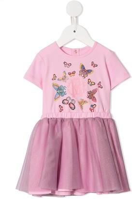 Roberto Cavalli Junior Butterfly print woven dress