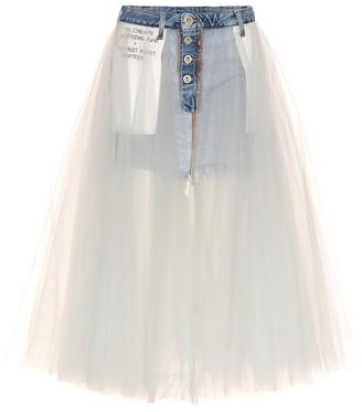 Unravel Tulle-skirted denim shorts