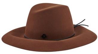 Maison Michel Kate leather lace up on felt cinnamon hat