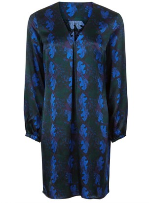 Phoebe Grace Emily Long Sleeved Shift Dress in Blue Leaf Print