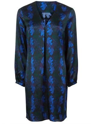 Phoebe Grace Emily Long Sleeved Shift Dress in Blue Leaf Print
