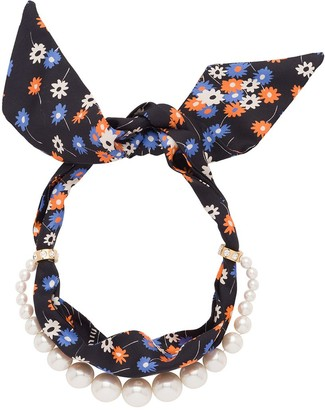 Miu Miu Pearl-Embellished Scarf Necklace