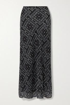 Rixo Kelly Floral-print Silk Crepe De Chine Maxi Skirt - Black