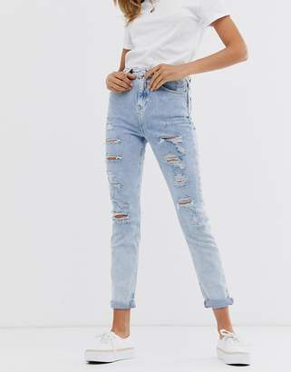 New Look ripped skinny jeans in light blue