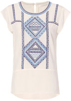 Veronica Beard Baha Embroidery Cap Sleeve Blouse