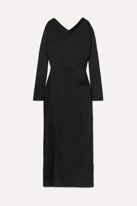 Deitas Demeter Knotted Silk-twill Maxi Dress - Black