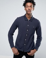 Farah Jenkins Pique Shirt Tipped Slim Fit in Navy