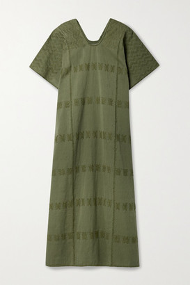 Pippa Net Sustain Embroidered Cotton Huipil - Army green