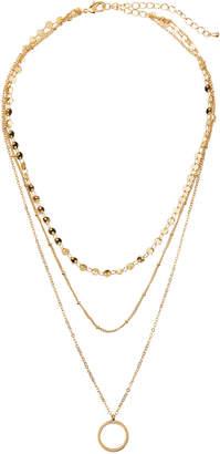 Panacea Layered 3-Row Circle Pendant Necklace