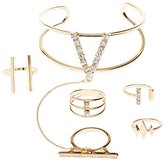 Charlotte Russe Embellished Hand Chain & Ring Set -5 Pack