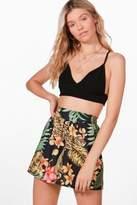 Boohoo Molly Tropical Print Flippy Shorts