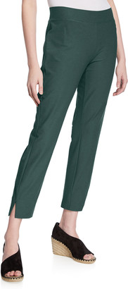 Eileen Fisher Plus Size Washable Stretch-Crepe Side-Slit Ankle Pants