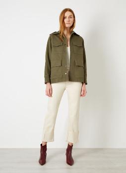 Green Cotton Iden - Khaki Green Back Sustainable Safari Jacket - khaki green | cotton | xs