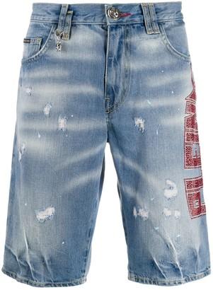Philipp Plein Studded Logo Distressed Shorts