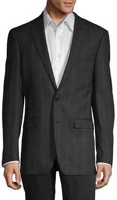 Calvin Klein Slim-Fit Plaid Wool-Blend Blazer
