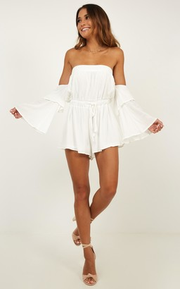 Showpo Keeping Me Playsuit in white - 20 (XXXXL) Off The Shoulder