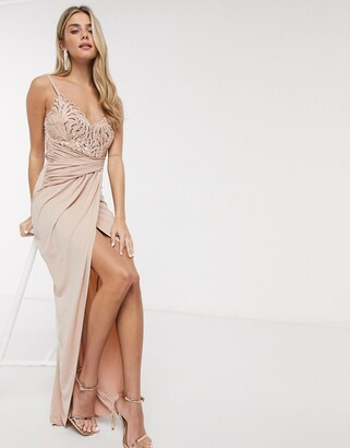 Lipsy x Abbey Clancy lace top slinky ruched maxi dress in pink