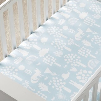 west elm Organic Woodland Crib Fitted Sheet - Sky Light Blue