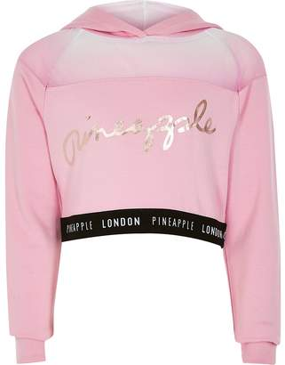 River Island Girls Pineapple pink mesh cropped hoodie