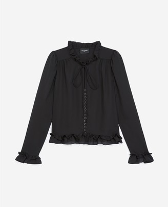 The Kooples Flowing black shirt with frills