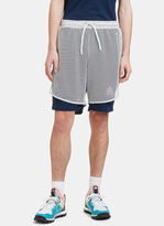 Adidas By Kolor Men's Climachill Layered Mesh Shorts In White And Navy
