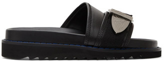 Toga Pulla Black Leather Buckle Sandals
