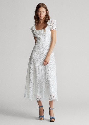 Ralph Lauren Linen Eyelet Midi Dress