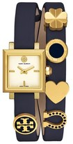 Tory Burch 'Saucy' Double Wrap Leather Strap Watch, 25mm